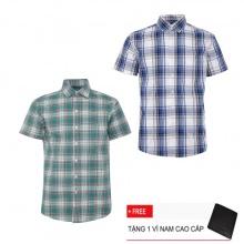 Bộ 2 áo sơ mi ngắn tay sọc caro thời trang SMC2304