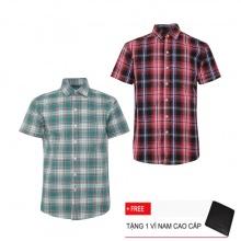 Bộ 2 áo sơ mi ngắn tay sọc caro thời trang SMC2307