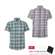 Bộ 2 áo sơ mi ngắn tay sọc caro thời trang SMC2308