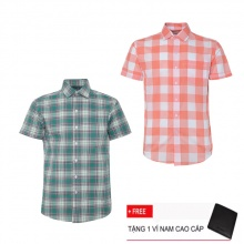 Bộ 2 áo sơ mi ngắn tay sọc caro thời trang SMC2310