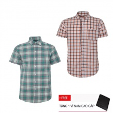 Bộ 2 áo sơ mi ngắn tay sọc caro thời trang SMC2312