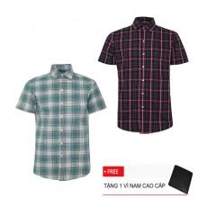 Bộ 2 áo sơ mi ngắn tay sọc caro thời trang SMC2313