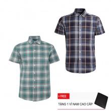Bộ 2 áo sơ mi ngắn tay sọc caro thời trang SMC2319