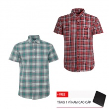 Bộ 2 áo sơ mi ngắn tay sọc caro thời trang SMC2322