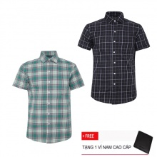 Bộ 2 áo sơ mi ngắn tay sọc caro thời trang SMC2323