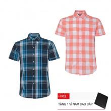 Combo 2 áo sơ mi nam sọc caro Model Fashion cao cấp MSMI3243 (tặng kèm ví nam)