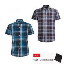 Combo 2 áo sơ mi nam sọc caro Model Fashion cao cấp MSMI3230 (tặng kèm ví nam)