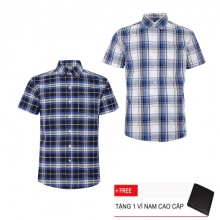 Combo 2 áo sơ mi nam sọc caro Model Fashion cao cấp MSMI3194 (tặng kèm ví nam)