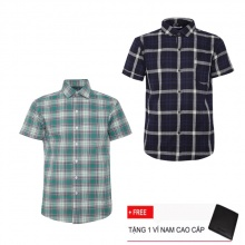 Bộ 2 áo sơ mi ngắn tay sọc caro thời trang SMC2324