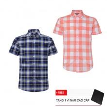 Bộ 2 áo sơ mi ngắn tay sọc caro thời trang SMC2383