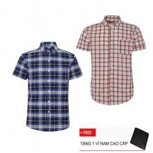 Bộ 2 áo sơ mi ngắn tay sọc caro thời trang SMC2385