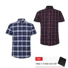 Bộ 2 áo sơ mi ngắn tay sọc caro thời trang SMC2386