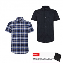Bộ 2 áo sơ mi ngắn tay sọc caro thời trang SMC2391