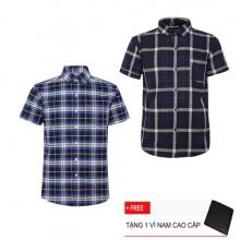 Bộ 2 áo sơ mi ngắn tay sọc caro thời trang SMC2396