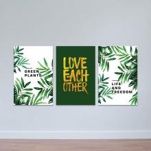 """Bộ 3 tranh treo tường phòng khách """"Green plants"""" - tranh trang trí hiện đại W3465"""