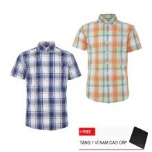 Bộ 2 áo sơ mi ngắn tay sọc caro thời trang SMC2401