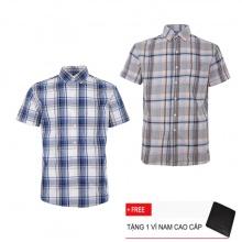 Bộ 2 áo sơ mi ngắn tay sọc caro thời trang SMC2403