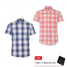 Bộ 2 áo sơ mi ngắn tay sọc caro thời trang SMC2405