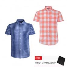 Bộ 2 áo sơ mi ngắn tay sọc caro thời trang SMC4007