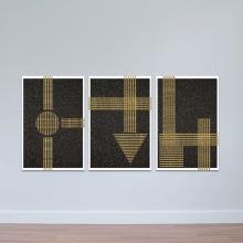 """Bộ 3 tranh treo tường phòng khách """"Họa tiết kẻ sọc vàng"""" - tranh trang trí hiện đại W3473"""