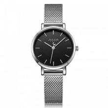 Đồng hồ nữ JA-1164LB Julius Hàn Quốc dây thép (bạc đen)