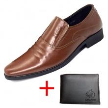 Combo giày lười công sở nam da bò cao cấp N1621MN + 1 ví da Lucacy