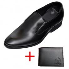Combo giày lười công sở nam tăng chiều cao 6cm da bò cao cấp N2101MD + 1 ví da Lucacy