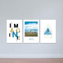 """Bộ 3 tranh treo tường """"Biển xanh"""" - tranh trang trí hiện đại W3478"""