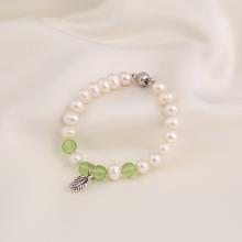 Opal - vòng tay ngọc trai mix đá pha lê xanh lá_T7