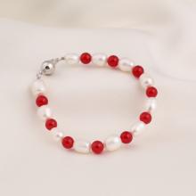 Opal - vòng tay ngọc trai trắng mix pha lê đỏ_T7