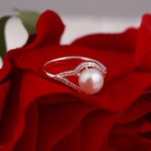 Opal - nhẫn bạc Ý đính ngọc trai sang trọng _T7