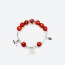 Vòng tay phong thủy đá mã não đỏ charm cỏ 4 lá 10mm mệnh hỏa , thổ - Ngọc Quý Gemstones