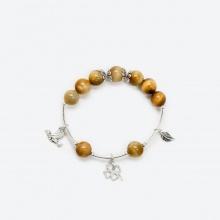 Vòng tay phong thủy đá mắt hổ vàng nâu charm cỏ 4 lá 10mm mệnh thổ, kim - Ngọc Quý Gemstones