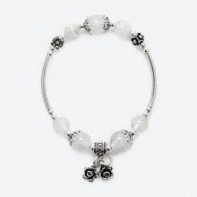 Vòng tay phong thủy nữ đá thạch anh trắng mix charm hoa 10mm mệnh thủy, kim - Ngọc Quý Gemstones