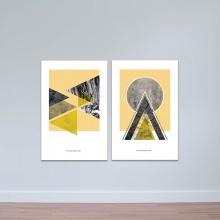 Bộ 2 tranh treo tường họa tiết tròn và tam giác - tranh trang trí hiện đại W3482