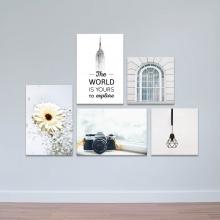 """Bộ 5 tranh trang trí hiện đại """"Sắc trắng tinh khôi"""" - tranh treo tường hoa lá W3392"""