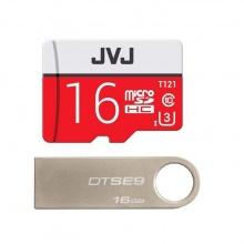 (Combo - bộ đôi lưu trữ) 1 thẻ nhớ JVJ Pro 16G + 1 USB Kingston Data Traveler SE9 16G