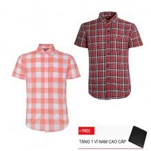 Bộ 2 áo sơ mi ngắn tay sọc caro thời trang SMC0738