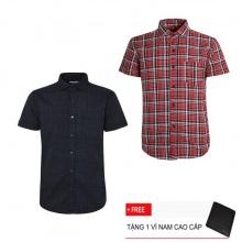 Bộ 2 áo sơ mi ngắn tay sọc caro thời trang SMC2505