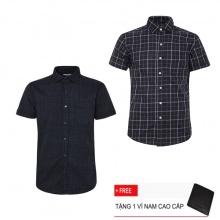 Bộ 2 áo sơ mi ngắn tay sọc caro thời trang SMC2506