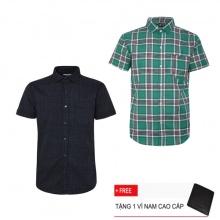 Bộ 2 áo sơ mi ngắn tay sọc caro thời trang SMC2509