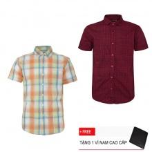 Bộ 2 áo sơ mi ngắn tay sọc caro thời trang SMC2527