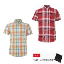 Bộ 2 áo sơ mi ngắn tay sọc caro thời trang SMC2529