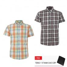 Bộ 2 áo sơ mi ngắn tay sọc caro thời trang SMC2530