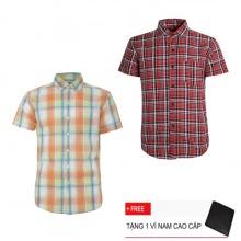 Bộ 2 áo sơ mi ngắn tay sọc caro thời trang SMC2533