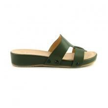 Dép da êm chân Sunday DD41 màu xanh rêu