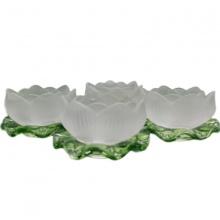 Đế nến thủy tinh hoa sen - chân đựng nến tealight - 4 cái - nhang thiền