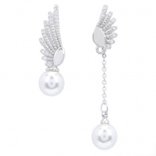 Bông tai nữ mạ bạc đôi cánh thiên thần kết hợp ngọc trai quý phái - Tatiana - BB2518 (bạc)