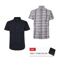 Combo 2 áo sơ mi nam sọc caro Model Fashion cao cấp MSMI3118 (tặng kèm ví nam)