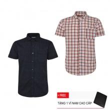 Combo 2 áo sơ mi nam sọc caro Model Fashion cao cấp MSMI3122 (tặng kèm ví nam)